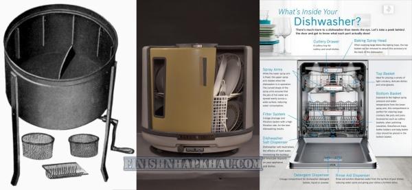 Các thời kỳ lịch sử và tính năng của máy rửa chén.