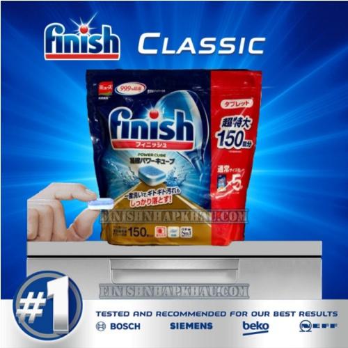 (COMBO 3 MÓN TIẾT KIỆM) Túi 150 viên rửa chén Finish Classic (Power Cube Mini) + Hộp 1,2Kg muối Finish + Chai 800ml nước bóng Finish.