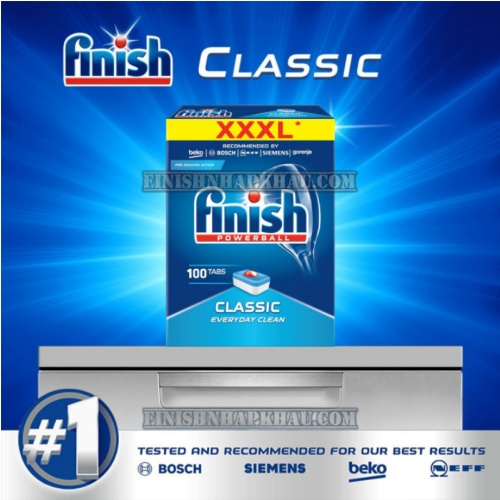 Hộp 100 viên rửa chén Finish Classic XXXL- (2x tính năng trong 1 viên) – (Dành cho máy rửa chén 9-10-12-13 bộ).