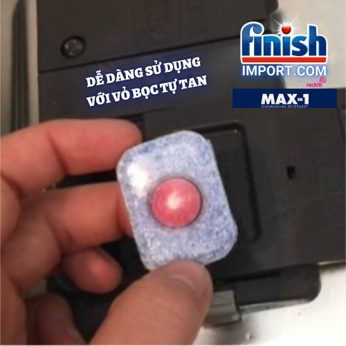 Hộp 125 viên rửa chén Finish Max in 1 - Dễ dàng sử dụng Wrapper Tab Powerball (Mới - dòng cải tiến của All in 1 max) – (11x tính năng trong 1 viên) – (Dành cho máy rửa chén 10-12-13 bộ trở xuống).