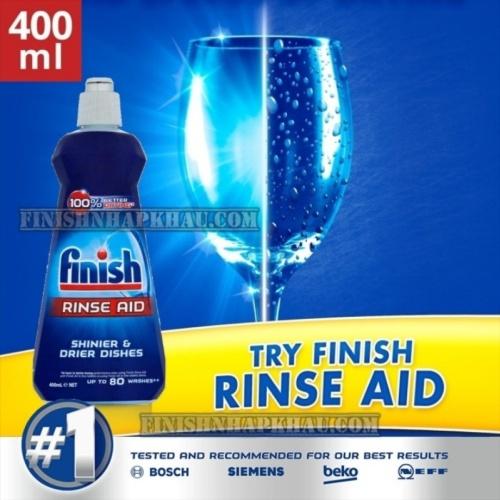 Chai 400ml (Hương Nguyên bản) nước làm bóng chén Finish – (Hỗ trợ sấy khô và không bị đọng nước trên ly thủy tinh).