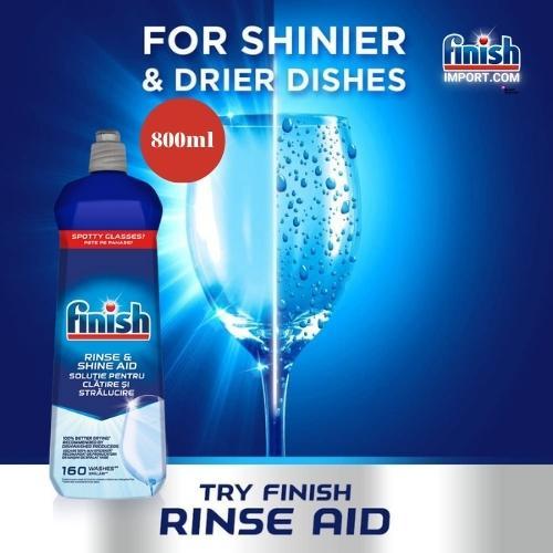 Chai 800ml nước làm bóng chén Finish – (Hỗ trợ sấy khô và không bị đọng nước trên ly thủy tinh).