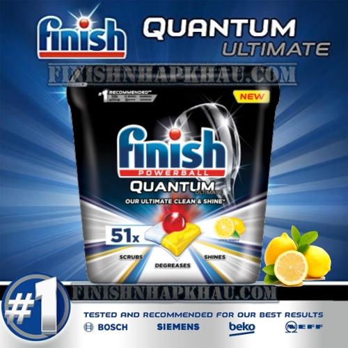 Hộp 51 viên rửa chén Finish Quantum Ultimate (Hương Chanh - Công thức mới 2020) – Hàng siêu cao cấp với 14x tính năng trong 1 viên (Dành cho máy rửa chén 13-14-15 bộ).