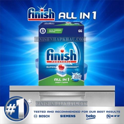 Hộp 66 viên rửa chén Finish All in 1 – (6x tính năng trong 1 viên – Hương Baking Soda) – (Dành cho máy rửa chén 9-10-12-13 bộ trở xuống).