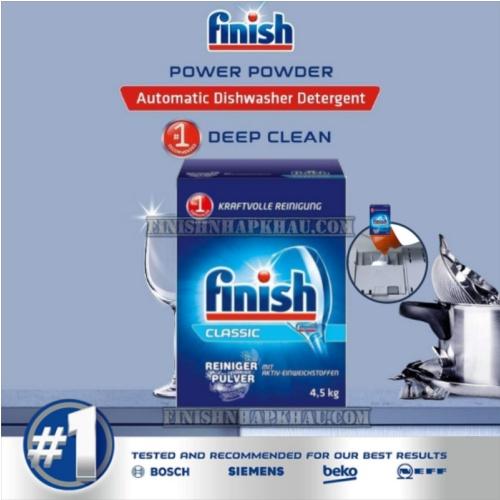 (COMBO 3 MÓN) Hộp 4,5kg bột rửa chén Finish Classic (Hương nguyên bản) + Hộp 1,2Kg muối Finish (Làm mềm nước) + Chai 800ml nước làm bóng Finish (trợ xả).