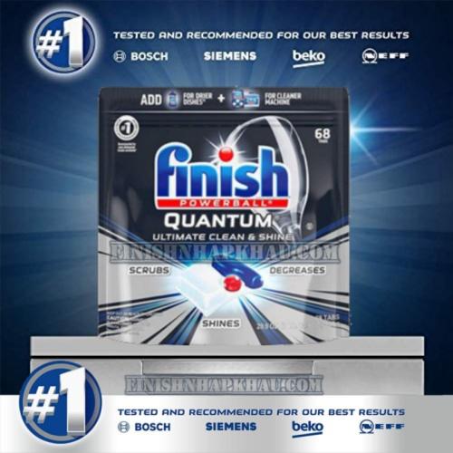 Túi 68 viên rửa chén Finish Quantum Ultimate (Công thức 2019 – Hàng siêu cao cấp với 17x tính năng trong 1 viên (Dành cho máy rửa chén 12-13-14-15 bộ).
