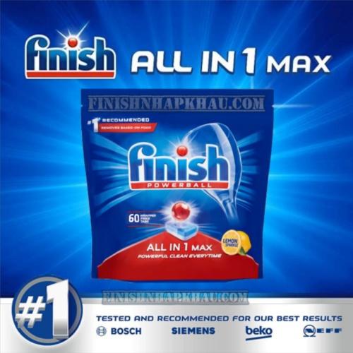 Túi 60 viên rửa chén Finish All in 1 Max – (10x tính năng Hương Chanh) – (Dành cho máy rửa chén 9-10-12-13 bộ trở xuống).