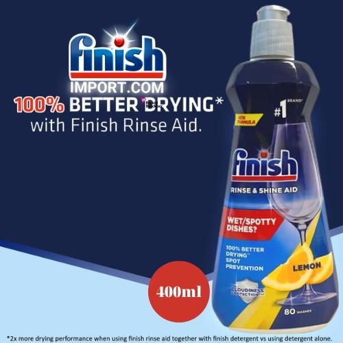 Chai 400ml (HƯƠNG CHANH) nước làm bóng chén Finish – (Hỗ trợ sấy khô và không bị đọng nước trên ly thủy tinh).