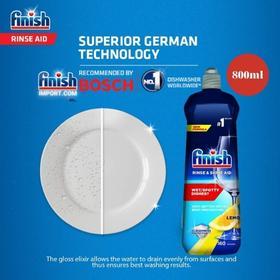 Chai 800ml (Hương Lemon - chanh vàng) nước làm bóng chén Finish – (Hỗ trợ sấy khô và không bị đọng nước trên ly thủy tinh).