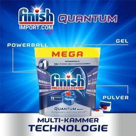 Túi 72 viên rửa chén Finish Quantum Max (Loại viên lớn 14x tính năng trong 1 viên công thức mới - sx 2020 – Hương Nguyên Bản) – (Dành cho máy rửa chén 10-12-13 bộ).