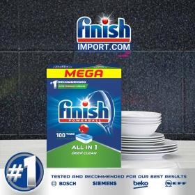 Hộp 100 viên rửa chén Finish All in 1 – (6x tính năng trong 1 viên – Hương Nguyên Bản) – (Dành cho máy rửa chén 9-10-12-13 bộ trở xuống).
