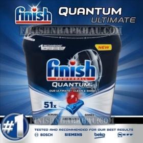 Hộp 51 viên rửa chén Finish Quantum Ultimate (Công thức mới 2020 - Dòng cải tiến cao cấp của Quantum Max) – Hàng siêu cao cấp với 14x tính năng trong 1 viên (Dành cho máy rửa chén 13-14-15 bộ).