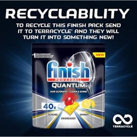 Túi 40 viên rửa chén Finish Quantum Ultimate (Hương chanh (Lemon) - Công thức mới 2020) – Hàng siêu cao cấp với 14x tính năng trong 1 viên (Dành cho máy rửa chén 12-13-14-15 bộ).
