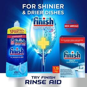 (Combo gói Finish tiết kiệm) – Hộp 1,5Kg muối Finish (Làm mềm nước) + Chai 1150ml nước làm bóng Finish (trợ xả).