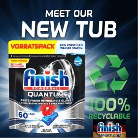 Túi 60 viên rửa chén Finish Quantum Ultimate (Dành cho thị trường Đức - HÀNG MỚI VỀ SX 2021) – Hàng siêu cao cấp với 16x tính năng trong 1 viên (Dành cho máy rửa chén 13-14-15 bộ).