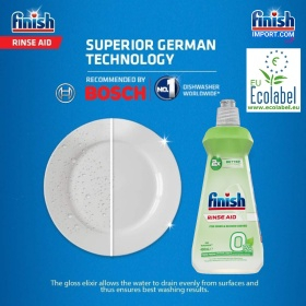 Chai 400ml nước làm bóng Finish hỗ trợ sấy khô chén (0% Ecolabel EU - HÀNG MỚI VỀ) – (Thân thiện với môi trường - Đặc biệt tốt cho các hộ gia đình có trẻ nhỏ).