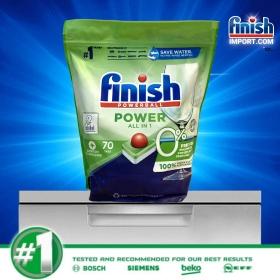 Túi 70 viên rửa chén Finish All in 1 Max – (0% Ecolabel EU - HÀNG MỚI VỀ - 10x tính năng trong 1 - Đặc biệt tốt cho sức khoẻ các hộ gia đình có trẻ nhỏ) – (Dành cho máy rửa chén 9 tới 13 bộ trở xuống).