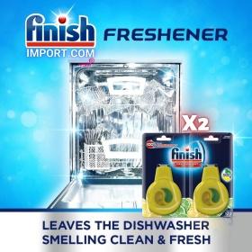 COMBO 2 Túi treo lọc không khí khử mùi máy rửa chén Finish (EU-Đức) – (Hương thơm Chanh - 60 lần dùng).
