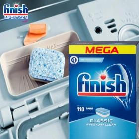 Hộp 110 viên rửa chén Finish Classic MEGA - (HÀNG MỚI VỀ THIẾT KẾ MỚI) - (2x tính năng trong 1 viên) – (Dành cho máy rửa chén 9-10-12-13 bộ).
