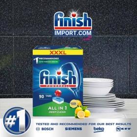 Hộp 90 viên rửa chén Finish All in 1 (XXL HÀNG MỚI VỀ) – (6x tính năng trong 1 viên – Hương Chanh) – (Dành cho máy rửa chén 9-10-12-13 bộ trở xuống).