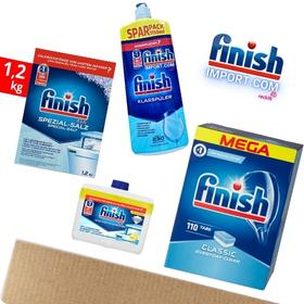 (MEGA COMBO 4 MÓN) Hộp 110 viên rửa chén Finish Classic MEGA (Hương Nguyên Bản) + Hộp 1,2Kg muối Finish + Chai 1150ml nước làm bóng Finish (trợ xả) + Chai 250ml vệ sinh máy Finish.