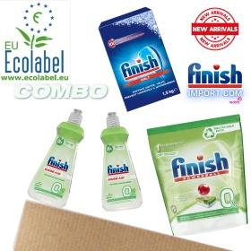 (COMBO 4 MÓN ECOLABEL VIÊN) Túi 70 viên rửa chén Finish All in 1 Max + 2 Chai 400ml Finish (0% Ecolabel EU) + Hộp 1,5Kg muối Finish (Làm mềm nước).