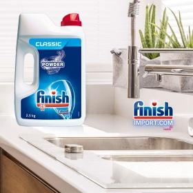 Hộp bột rửa chén Finish Classic 2,5Kg (Hương Nguyên Bản- 250 lần dùng) – (Dành cho máy rửa chén 7-8-9-10-12-13-14-15 bộ).