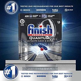 Túi 58 viên rửa chén Finish Quantum Ultimate (Công thức 2019 – Hàng siêu cao cấp với 17x tính năng trong 1 viên (Dành cho máy rửa chén 12-13-14-15 bộ).