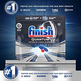 Túi 82 viên rửa chén Finish Quantum Ultimate (Công thức 2019 – Hàng siêu cao cấp với 17x tính năng trong 1 viên (Dành cho máy rửa chén 12-13-14-15 bộ).