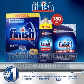 (COMBO 3 MÓN) Hộp 100 viên rửa chén Finish Classic + Hộp 1,2Kg muối Finish (Làm mềm nước) + Chai 750ml nước làm bóng Finish (trợ xả).
