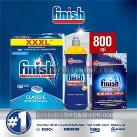 (COMBO 3 MÓN) Hộp 100 viên rửa chén Finish Classic XXXL (Hương Nguyên Bản) + Hộp 1,2Kg muối Finish + Chai 800ml nước làm bóng Finish (trợ xả).