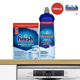 (Combo gói Finish tiết kiệm) – Hộp 1,2Kg muối Finish (Làm mềm nước) + Chai 800ml nước làm bóng Finish (trợ xả).